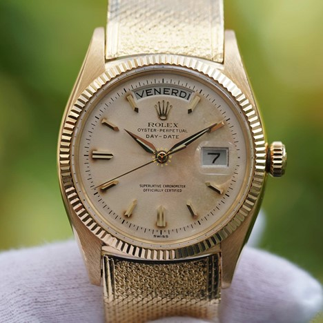 Vintage Rolex Day-Date President  ref 1803 Yellow gold Milanese bracelet