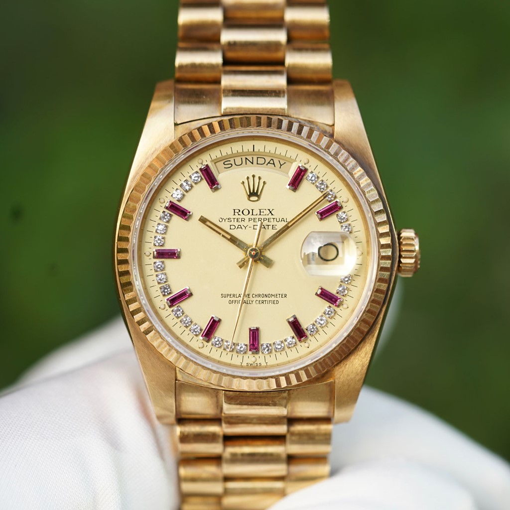 Vintage Rolex Daydate President 18038 Ruby Dial