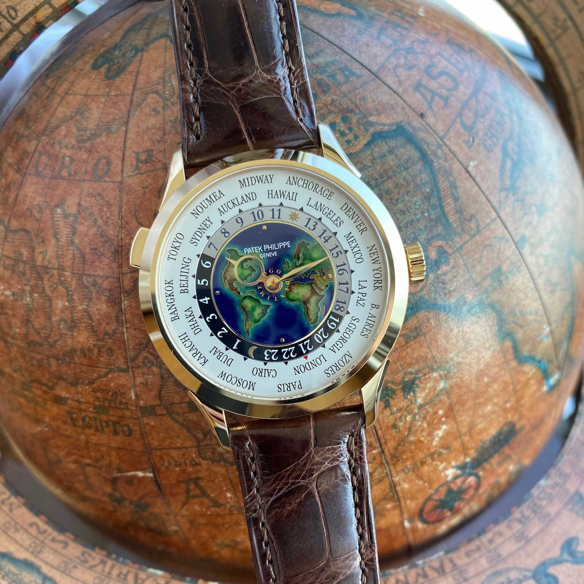 Patek Philippe World Time ref 5231J Yellow Gold Cloisonné Enamel Dial